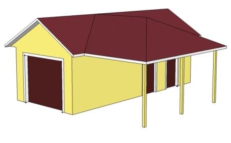 гараж и навес под одной крышей фото